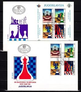 Yugoslavia, Scott cat. 2072-2073. Chess issue on 2 First day covers.