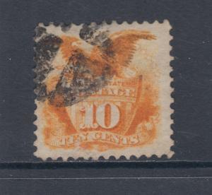 US Sc 116 used 1869 10c yellow, Negative X Fancy Cancel