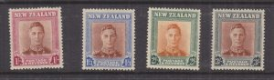 NEW ZEALAND, 1947 KGVI 1s., 1s.3., 2s. & 3s., lhm.