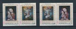 [98503] Venezuela 1969 Christmas Weihnachten Noël Paintings Christ 2 Pairs MNH