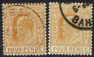 BAHAMAS 1902 KEVII 6D BOTH SHADES WMK CROWN CA USED