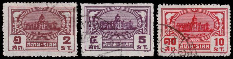 Siam - Thailand Scott 233, 235-236 (1939) Used H F-VF