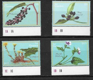 #8045 GAMBIA 2001 FLORA FLOWERS  YV 3428-31 MNH