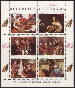 Panama #488 Sheet of 6, F-VF Mint NH ** Paintings of Musicians