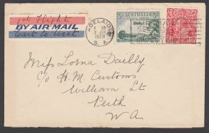 AUSTRALIA 1929 First flight cover Perth to Adelaide...................N662