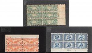 Lot of 34 U.S. MNH Mint & MH BOB / Airmail Stamps in Plate Blocks #141824 X