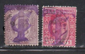 CEYLON Scott # 181-2 Used - KEVII With Unusual Postage Due Cancel