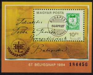 Hungary Cover from 1874 Stamp Day MS 1984 MNH SG#MS3571 CV£6.-