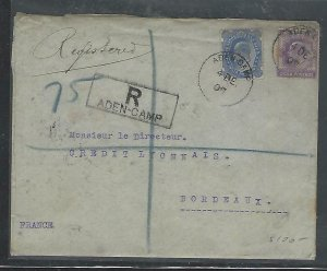 ADEN COVER (P0210B)  KE INDIA 2A+2A 6P REG FROM ADEN CAMP TO FRANCE