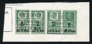 Isle of Man KGVI 5/- 2 x 2/- and 1/- Key Plate Type Revenues CDS on Piece