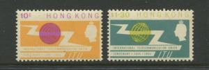 Hong Kong - Scott 221-222 - QEII - ITU Issue-1965 -MVLH - Set of 2 Stamps