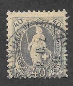 Switzerland Scott 84 Used 40c Helvetia 2015 CV $50.00