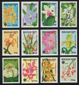 Bhutan Orchids 12v SG#851-862 MI#1266-1277 CV£20+