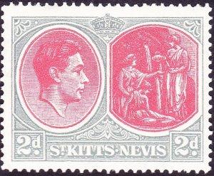 ST KITTS-NEVIS 1943 KGVI 2d Scarlet & Pale Grey SG71b MH