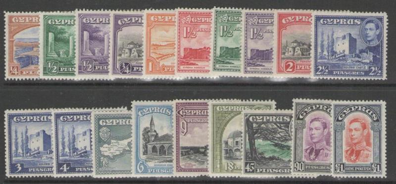 CYPRUS SG151/63 1938-51 DEFINITIVE SET MTD MINT
