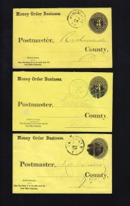 UO7 - 3 USED Money Order Business OFFICIAL Envelopes