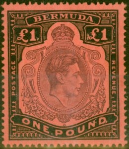 Bermuda 1943 £1 Pale Purple & Black-Pale Red SG121b Fine Lightly Mtd Mint