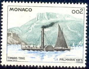 Paddle Steamer La Palmaria, 19th Cent., Monaco SC#J58 Mint