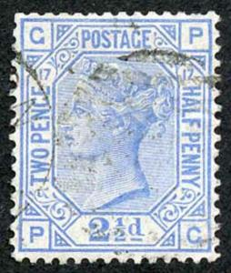 SG142 2 1/2d Blue Plate 17 Very Fine used Cat 75 pounds