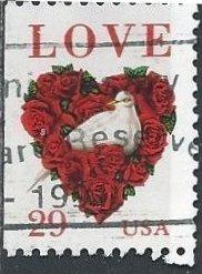 US 2814 (used) 29¢ love: dove & roses (1994)