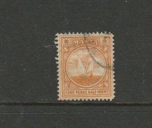 Malta 1904/14 MCCA 4 1/2d Orange FU SG 58