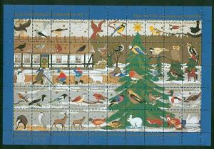 Denmark Christmas Sheet 1994 Kalundborg Animals. Owl,Birds,Fox,Horse,Swan,Hare,