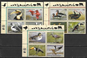 United Nations 845a, G 410a, V 332a 2003 Endangered Species Block MNH (lib)