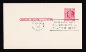 SCOTT #UX38 POSTAL CARD 1¢ FIRST DAY OF ISSUE ASDA NATIONAL STAMP SHOW 1951