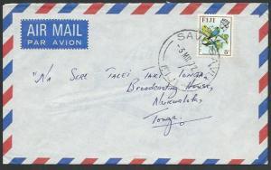 FIJI 1972 airmail cover to Tonga - SAVU SAVU cds...........................61775