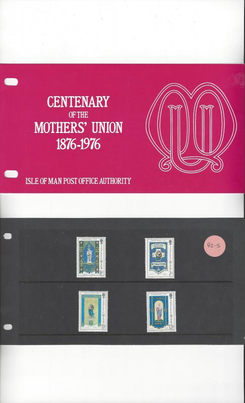 Isle of Man 92-5 Mother's Union Centenary 1976 MNH Presentation Pack