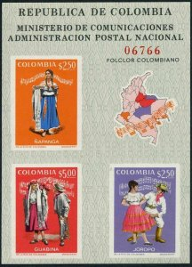 Colombia 797 ac sheet,MNH.Michel 1210-1212 Bl.33. Dancers and Music,1971.