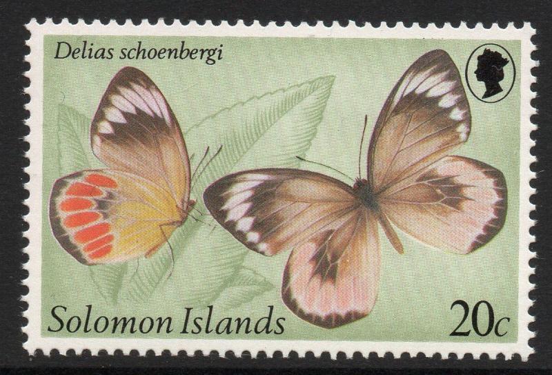 SOLOMON ISLANDS SG427w 1980 BUTTERFLIES 20c WMK CROWN TO RIGHT OF CA MNH