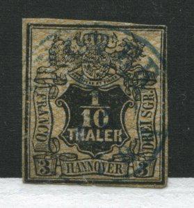 Hanover 1851 1/10 thaler black & orange used