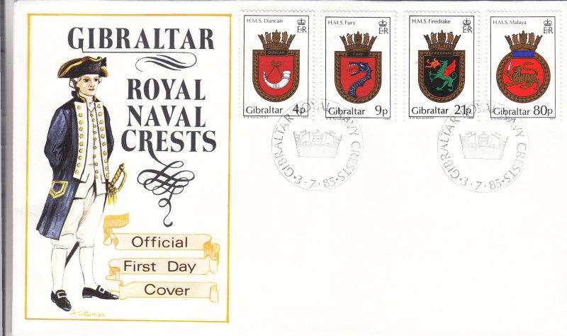 1985, Gibraltar: Royal Naval Crests, FDC (S18808)