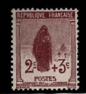 FRANCE Scott B3 MH* 1917 semi postal stamp, Widow at grave