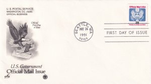 1991, 29c Official Mail Issue, Art Craft/PCS, FDC (E11332)