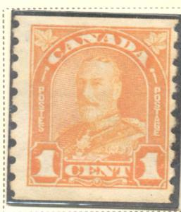 Canada Sc 178 1930 1c orange G V arch issue coil stamp mint