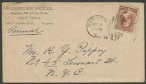 1886 #210 ON ROSSMORE HOTEL FULL BACK ILLUSTRATED ADVT COVER VF BS1769