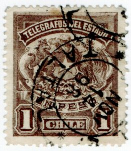 (I.B) Chile Telegraphs : 1P Brown (small format)