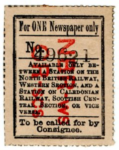(I.B) North British Railway : Single Newspaper Parcel (with Caledonian Railway)