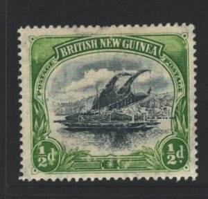Papua New Guinea Sc#1 MH - heavy offset reverse, surface scuffs