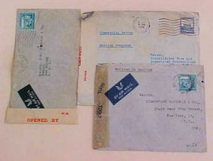 PALESTINE  3 CENSORED COVERS  1940/1942 TO USA