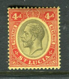 ST.LUCIA; 1921 early GV issue fine Mint hinged Shade of 4d. value
