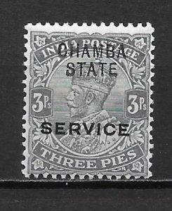 India Chamba o27 3p George V single Unused Hinged (z1)