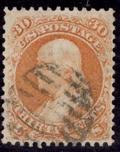 US Stamp #71 30c Franklin USED SCV $210. Fantastic Balance, Clean stamp.