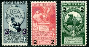 Italy 126-8 mint hinged Rome Torino surcharge      (Inv 001661.)