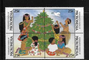 MICRONESIA, 70A, MNH, BLOCK OF 4, CHRISTMAS