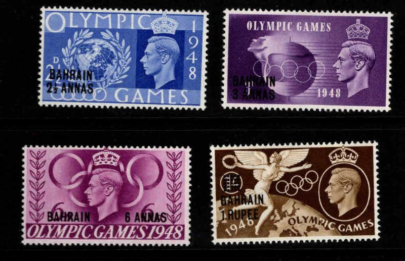 BAHRAIN Scott 64-67 MNH** 1948 surcharged Olympic set