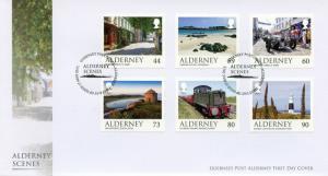 Alderney 2017 FDC Scenes Castles Lighthouses Trains Cars 6v Cover Tourism Stamps