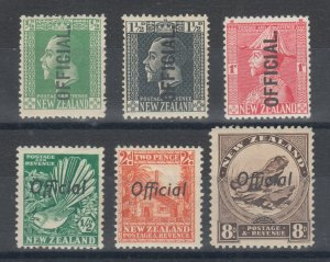 New Zealand Sc O41/O68B MLH. 1910-42 Officials, 6 different better singles, F-VF